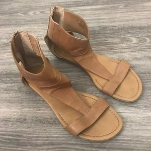 Franco Sarto Brown Leather Ankle Strap Sandals, 9